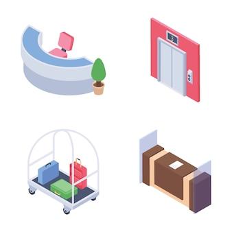 Pacote de ícones isométrica de funcionários e arrumação de recepção