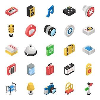 Pacote de ícones isométrica de instrumento musical