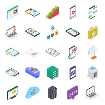 Pacote de ícones isométrica de mídias sociais