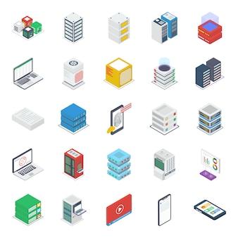 Pacote de ícones isométricos da sala de servidores de dados