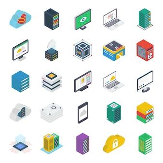 Pacote de ícones isométricos da tecnologia dataserver