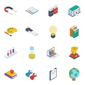 Pacote de ícones isométricos de acessórios de aprendizagem