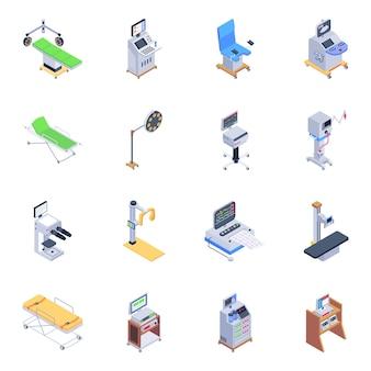 Pacote de ícones isométricos de acessórios médicos