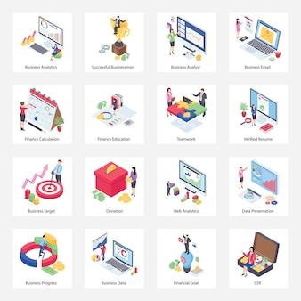 Pacote de ícones isométricos de análise de negócios