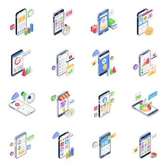 Pacote de ícones isométricos de aplicativos móveis