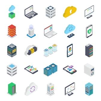 Pacote de ícones isométricos de banco de dados