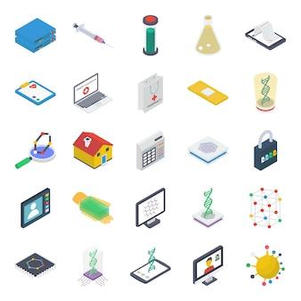 Pacote de ícones isométricos de ciência