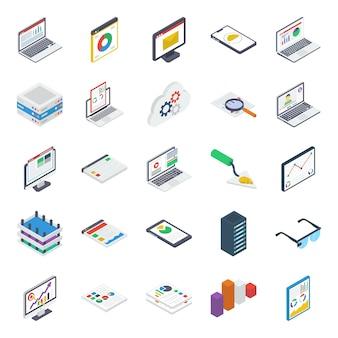 Pacote de ícones isométricos de computação em nuvem