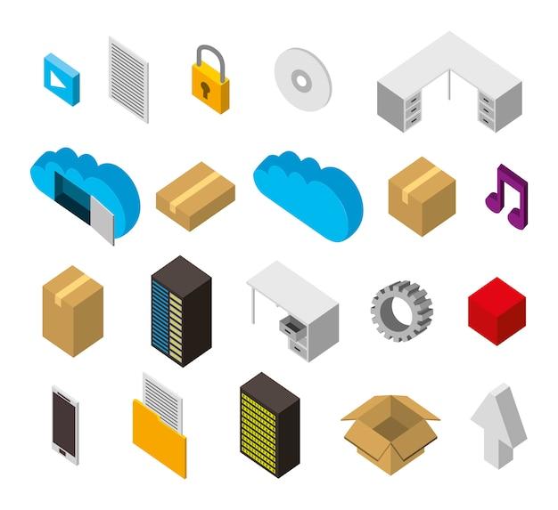 Pacote de ícones isométricos de conjunto de armazenamento de data center