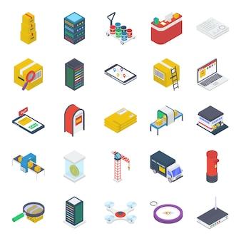 Pacote de ícones isométricos de entrega de pacotes