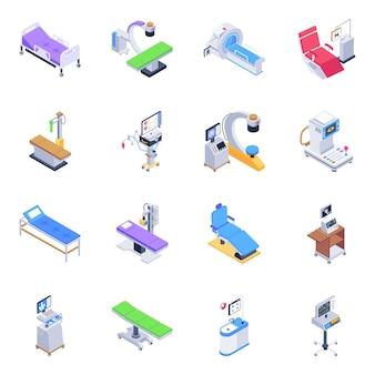 Pacote de ícones isométricos de equipamentos médicos