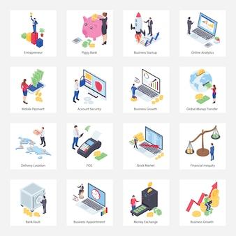 Pacote de ícones isométricos de finanças