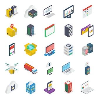 Pacote de ícones isométricos de layout da web