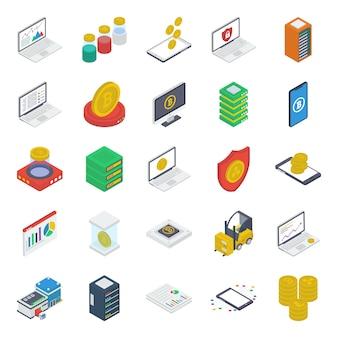 Pacote de ícones isométricos de moeda digital