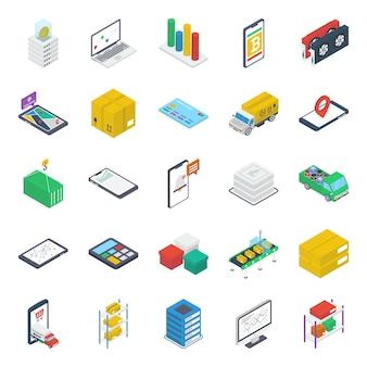 Pacote de ícones isométricos de navegação on-line