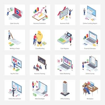 Pacote de ícones isométricos de negócios e