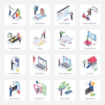 Pacote de ícones isométricos de negócios