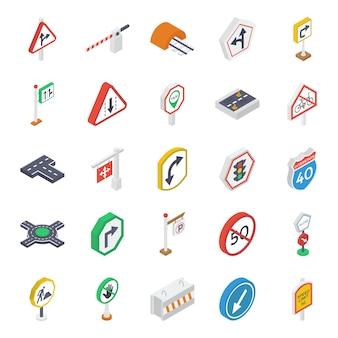 Pacote de ícones isométricos de símbolos de estrada