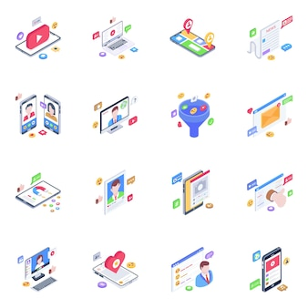Pacote de ícones isométricos de tecnologia de mídia