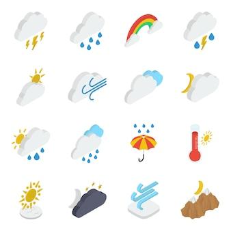 Pacote de ícones isométricos de tempo nublado