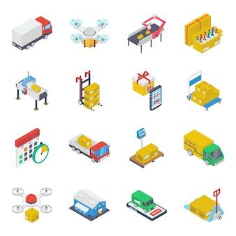 Pacote de ícones isométricos de transporte