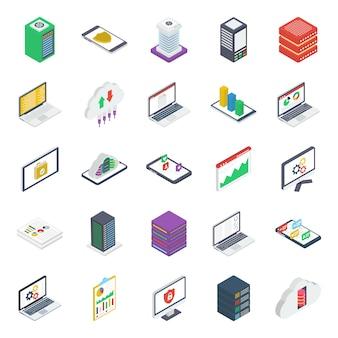 Pacote de ícones isométricos do data center