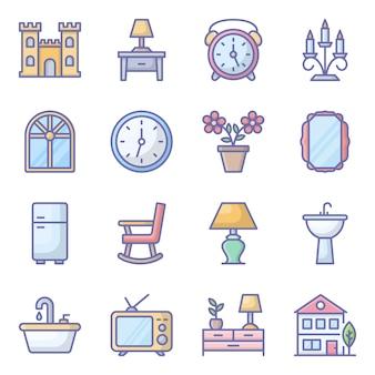 Pacote de ícones lisos de decoração para casa