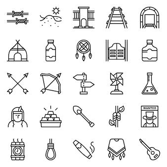 Pacote de ícones ocidentais, com estilo de ícone de estrutura de tópicos