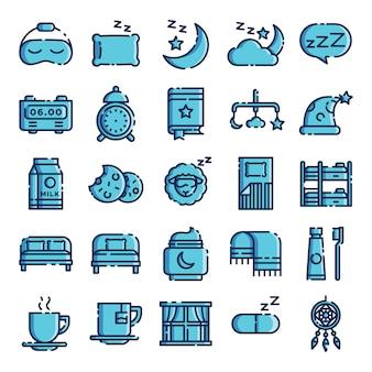 Pacote de ícones para dormir. coleção isolada dos símbolos do sono. elemento de ícones gráficos