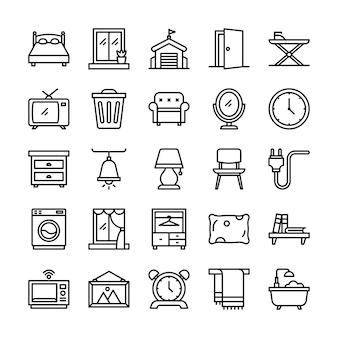 Pacote de ícones para viver em casa, com estilo de ícone de estrutura de tópicos