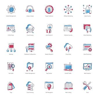 Pacote de ícones plana da web