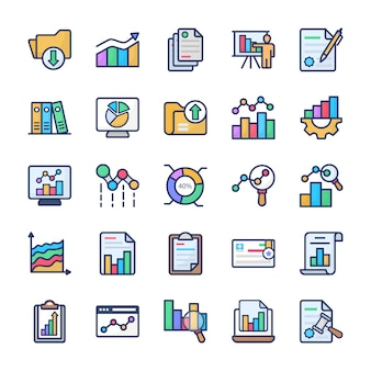 Pacote de ícones plana de análise de gráfico