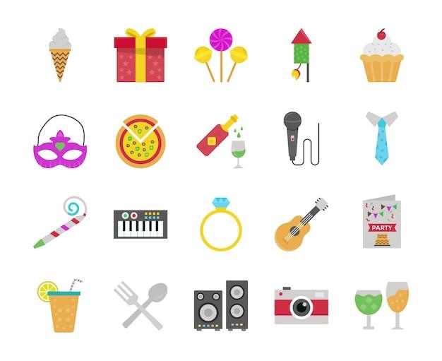 Pacote de ícones plana de aniversário