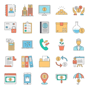 Pacote de ícones plana de bancos e finanças