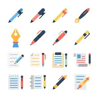 Pacote de ícones plana de caneta-tinteiro