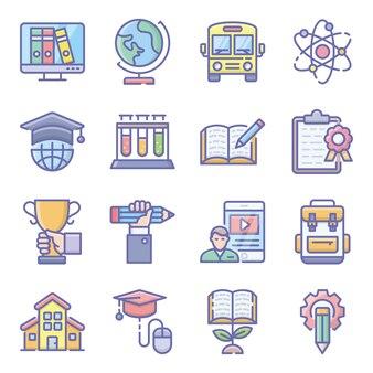 Pacote de ícones plana de ciência e educação