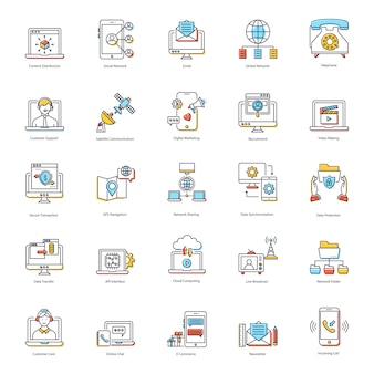 Pacote de ícones plana de comunicação