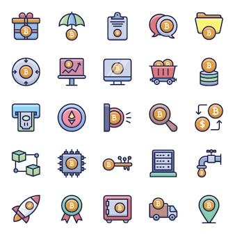 Pacote de ícones plana de criptomoeda