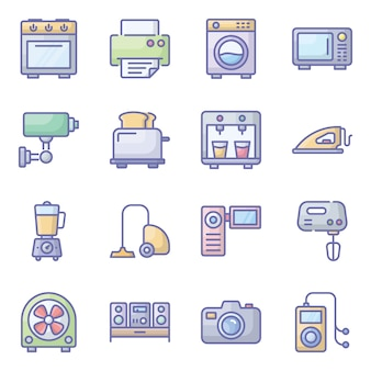 Pacote de ícones plana de dispositivos de hardware