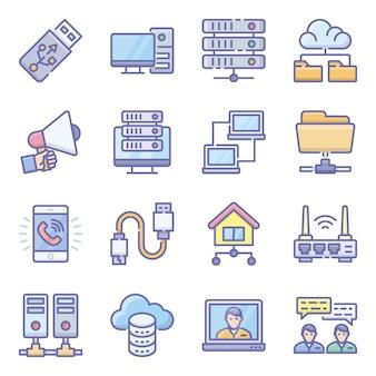 Pacote de ícones plana de dispositivos de rede