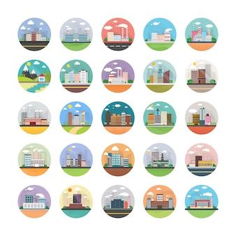 Pacote de ícones plana de ecologia, indústria, cidade e campo