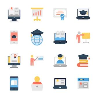 Pacote de ícones plana de educação