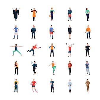 Pacote de ícones plana de empresário