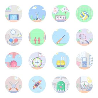 Pacote de ícones plana de esportes