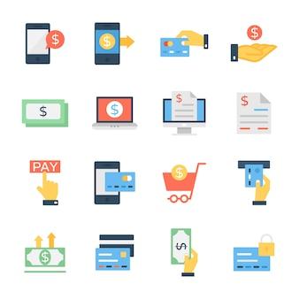 Pacote de ícones plana de finanças e dinheiro