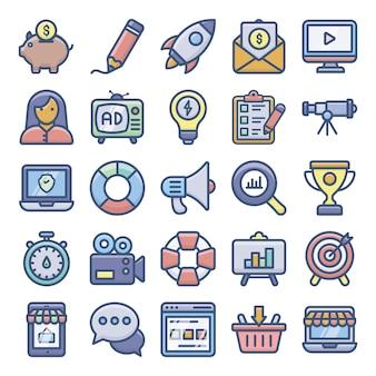 Pacote de ícones plana de marketing digital