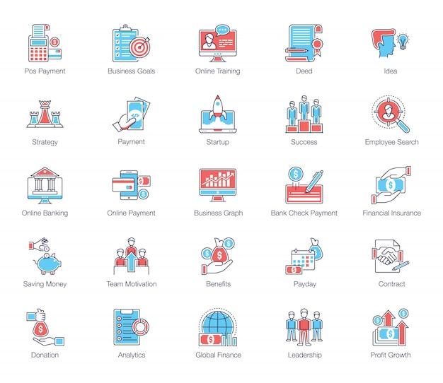 Pacote de ícones plana de negócios