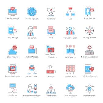 Pacote de ícones plana de rede global