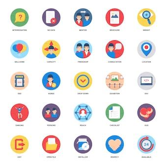 Pacote de ícones plana de rede social