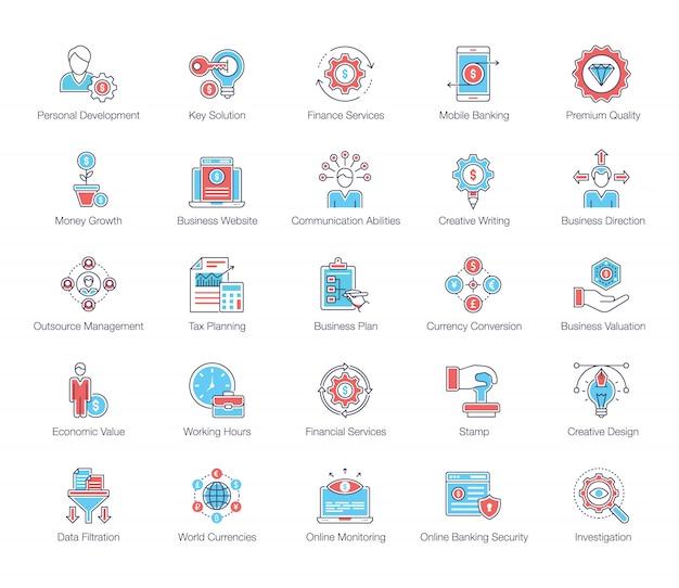 Pacote de ícones plana de serviços financeiros